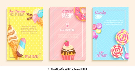 Set of sweet candy,bakery,ice cream shops flyers,banners.Collection of pages for kids menu,caffee,posters.Pastry,donuts,cupcake,lollipop cafeteris cards.Template vector illustration.