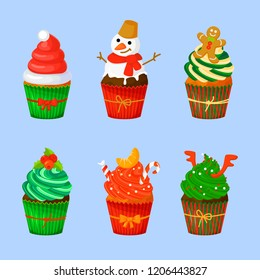 Set of sweet Christmas and New Year cupcakes. Creative elements for your design. Muffins isolated. Vector illustration. Eps 10