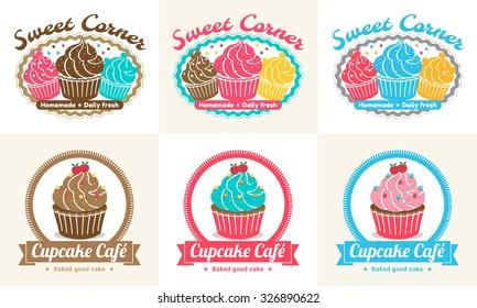 Set of sweet cupcake bakery badge label and logo design