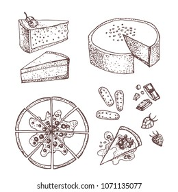 Set with sweet and dessert:  cakes, pies, tarts,cheesecake, cookies, chocolate and strawberry . Design elements in sketch style. Hand drawn doodle sweet bakery products.  Isolated on a white backgroun