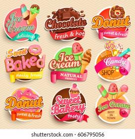 Set of sweet food labels. Vector illustration for cafe and restaurant menu.