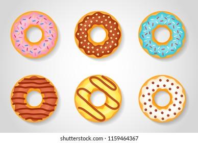 Set of sweet glazed donuts isolated on white background. Vector illustration.