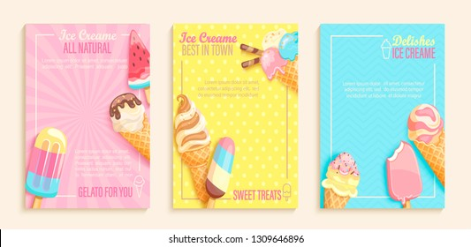 Set of sweet ice cream shops flyers,banners on vintage background.Collection of pages for kids menu,cafe,posters. cards, cafeteria advertisement.Template vector illustration.