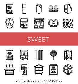 Set of sweet icons such as Cracker, Sour cream, Pie, Instant coffee, Corn, Cookies, Macaroons, Pretzel, Chocolate egg, Gummy bear, Candy, Cake, Ice cream cart, Chewing gum , sweet