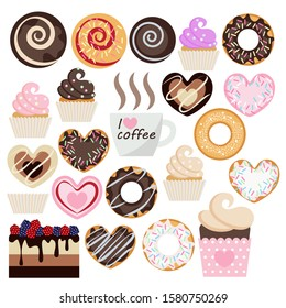 set of sweet pastries to a Cup of morning coffee. twenty versions of different pastries and a Cup with the inscription I love coffee. flat pattern, coffee and pink colors. vector illustration.