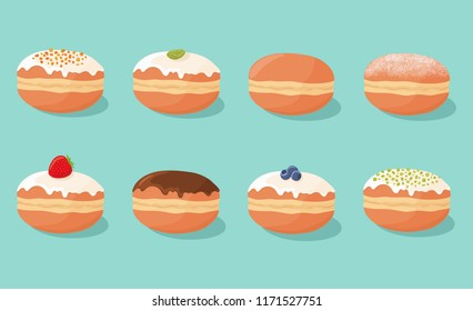 Set of sweet yummy donuts with various tasty fillings, toppings and flavors isolated on background. Polish, german, jewish, european, american cuisine. Vector illustration.