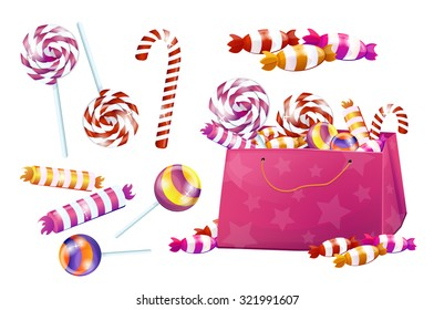 Set of sweets. candy, lollipops, candy, chocolate. Big set, pink, bright, brilliant. Without the background, on a white background.