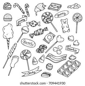 Set of sweets doodle isolated on white background