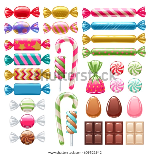 Set of sweets on white background - hard candy, chocolate egg and bar, candy cane, lollipop, peppermint. Vector illustration.