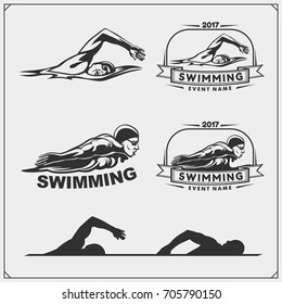 Set of swimming emblems, labels and design elements. Vector illustration.