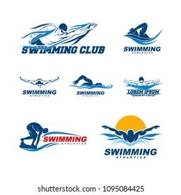 set of Swimming logo designs vector, Creative Swimmer logo Vector
