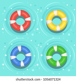 Set of swimming rubber ring on water isolated on background. Floating lifebuoy, toy for beach or ship. Inflatable circle, buoy in pool. Rescue belt for saving people life . Vector cartoon flat icon
