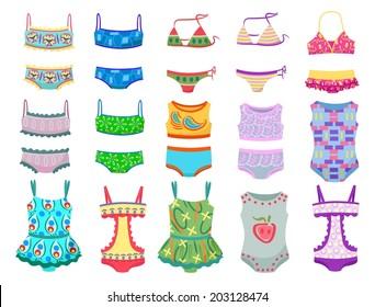 Set of swimwears for little girls isolated on white background