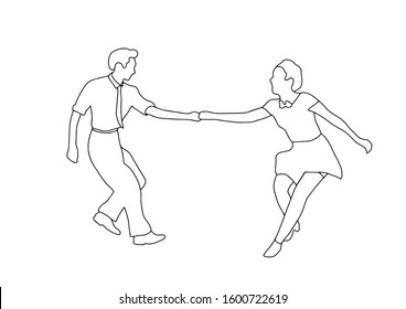 Set swing jazz retro dance. Pair people dancing in vintage style isolated on white background. Outline vector illustration 1940s 1950s. Men and women on swing, jazz,lindy hop or boogie woogie party.