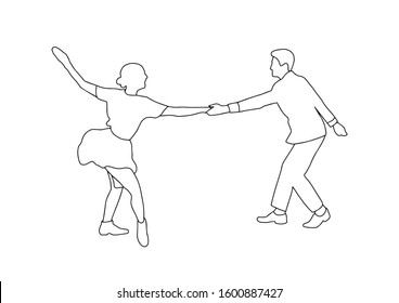 Set swing jazz retro dance. Pait people dancing in vintage style isolated on white background. Outline vector illustration 1940s 1950s. Men and women on swing, jazz,lindy hop or boogie woogie party.