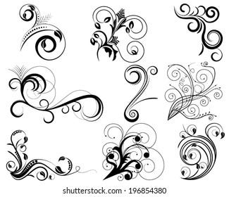 Set of swirl floral design elements