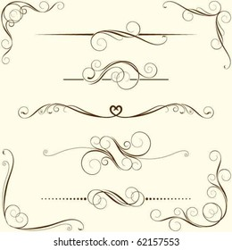 Set of swirl floral ornaments