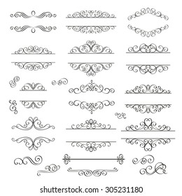 Set swirls decorative design  elements . Decorative Victorian  style.
