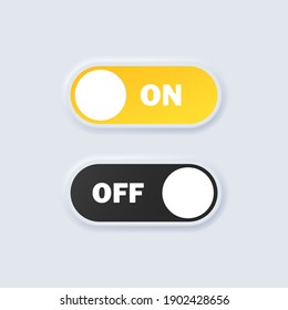 Set of switch on and off icons. On and off toggle buttons. Devices User Interface mockup or template. Neumorphic UI UX white user interface web buttons.