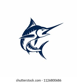 Set of swordfish illustration isolated on white background. Marlin icon. Design elements for logo, label, emblem, sign, brand mark. Vector illustration.