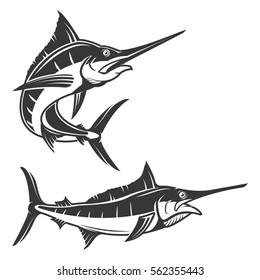 Set of swordfish illustration isolated on white background. Marlin icon. Design elements for logo, label, emblem, sign, brand mark. Vector illustration.