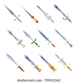 Set of swords medieval weapons vector illustration isolated on white. Knives handle decorated with gemstones, sharp blades of different shape. Isometric weapons icons collection