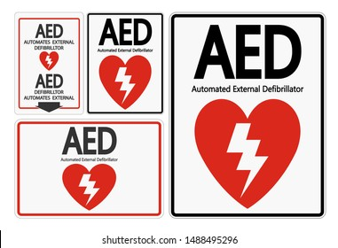 Set Symbol AED Sign label on white background
