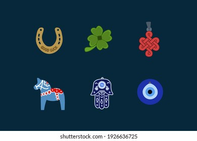 Set the symbol of good luck. Hamsa amulet, Nazar, Golden Horseshoe, Chinese knot, Dala Horse, Green Clover for good luck. Symbols that bring good luck and fortune. A pattern for luck drawn by hand