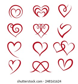 Set of symbol heart. - vector illustrator