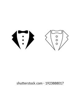 Set of Symbol service dinner jacket bow. Tuxedo concept. Tux sign Butler gentleman idea