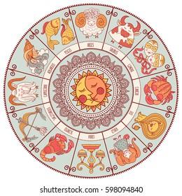 Set of Symbol Zodiac Sign. Zodiac icons. Freehand drawing