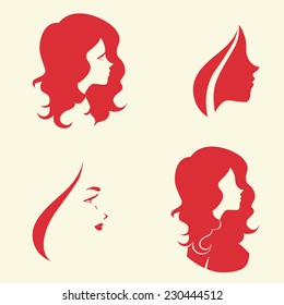 Set of symbolic women heads. Faces in profile. Signs for hairdresser, cosmetology or spa salon, Vector isolated.