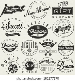 Set of symbols for Best Quality, Original Brand, New Product, Money Back. Thank you for choosing us, for your support, for shopping with us. Retro vintage style, hand lettering typographic symbols.