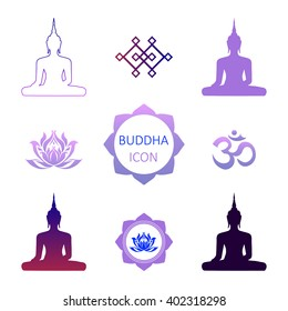 Set symbols of Buddhism in vector. Illustration with flat lay oriental symbols. Buddhism sacred symbols are silhouette Sitting Buddha, Endless Knot, Lotus flower and OM sign