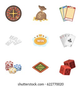 The set of symbols casino games. Gambling for money. Chips, dominoes, casino. icon in set collection on cartoon style vector symbol stock illustration.