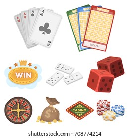 The set of symbols casino games. Gambling for money. Chips, dominoes, casino. Casino and gambling icon in set collection on cartoon style vector symbol stock illustration.