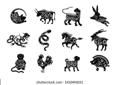 The set of symbols of the Chinese horoscope. Twelve zodiac animals.