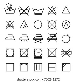 Set symbols of clothes washing, wringing, drying, ironing. Thin line design. Lines with editable stroke.