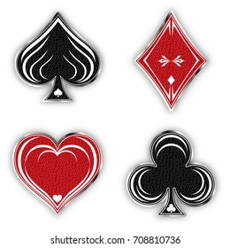Set of symbols deck of cards for playing poker and casino in vintage style. Spades suit, diamonds, clubs and hearts. Vector illustration.