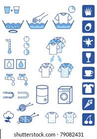 Set of symbols for detergent powder instructions