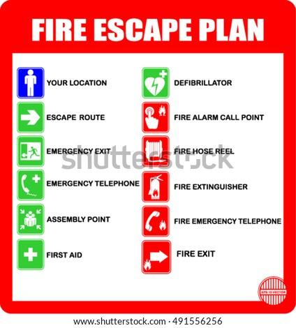 Set Symbols Fire Escape Evacuation Plans Stock Vector Royalty Free