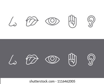 Set of symbols of the five senses - tongue, eyes, ear, hand, nose. Dark on a white background and white on a dark background. Vector illustration