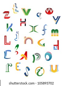 Set of symbols, letters and icons for alphabet design, such logo. Vector version also available in gallery