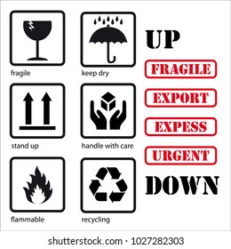 Set of symbols for packaging: fragile, keep dry, stand up, handle with care, flammable, recycling and words like tampons: UP, DOWN, FRAGILE, EXPORT, EXPRESS, URGENT.