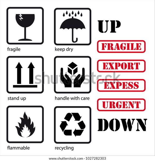 Conjunto De Símbolos Para El Embalaje Frágiles Secar Levantarse Manipular Con Cuidado Inflamables Reciclar Y Palabras