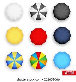 Set symbols of rain umbrellas. Seasons objects parasol. Vector Illustration. Isolated on white background.