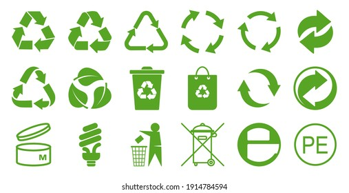 Set of symbols and signs for design of packaging products, information about the goods being transported and a sign of recycling, green symbols isolated on white background