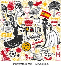 Set of Symbols of Spain. Composition in Hand Drawn Style for Surface Design Fliers Banners Prints Posters Cards. Vector Illustration