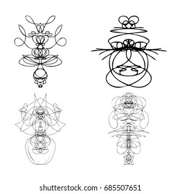 Set of symmetrical graphic design elements. Abstract geometric hand drawn symbols styles shapes. Occultism, sacred geometry magic alien. Vector.