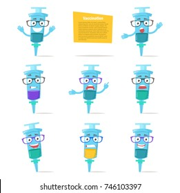 Set with syringes, emotions. Vector. Cartoon. Isolated art on white background. Flat. Vaccination